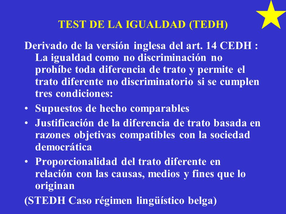 TEST DE LA IGUALDAD (TEDH)