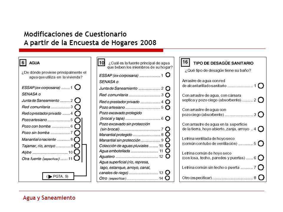 Modificaciones de Cuestionario A partir de la Encuesta de Hogares 2008