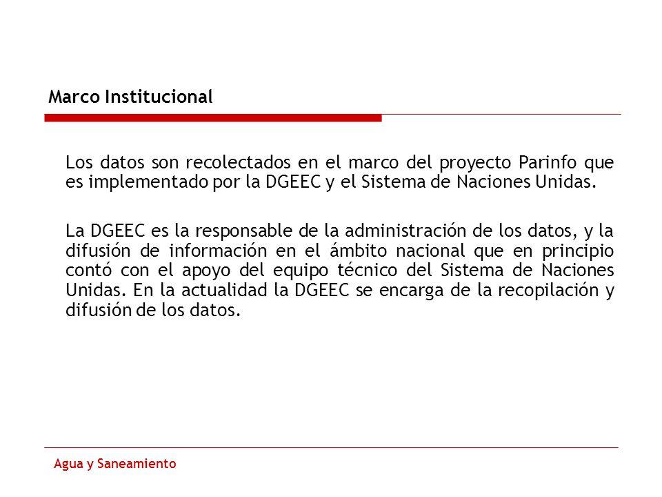 Marco InstitucionalLos datos son recolectados en el marco del proyecto Parinfo que es implementado por la DGEEC y el Sistema de Naciones Unidas.