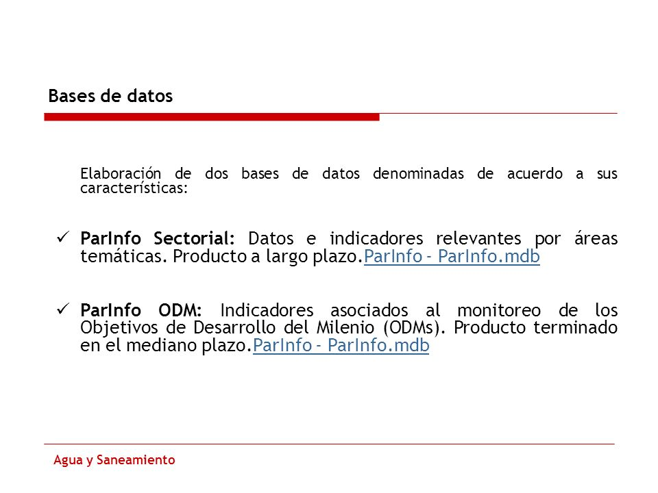 Bases de datos Elaboración de dos bases de datos denominadas de acuerdo a sus características: