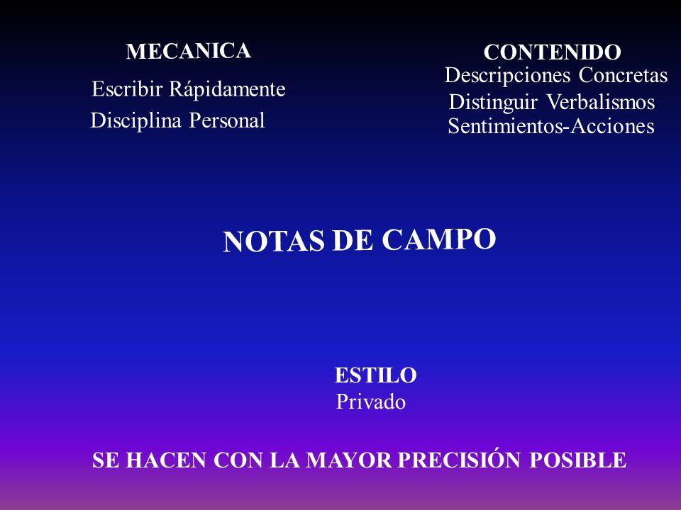 NOTAS DE CAMPO MECANICA CONTENIDO Descripciones Concretas