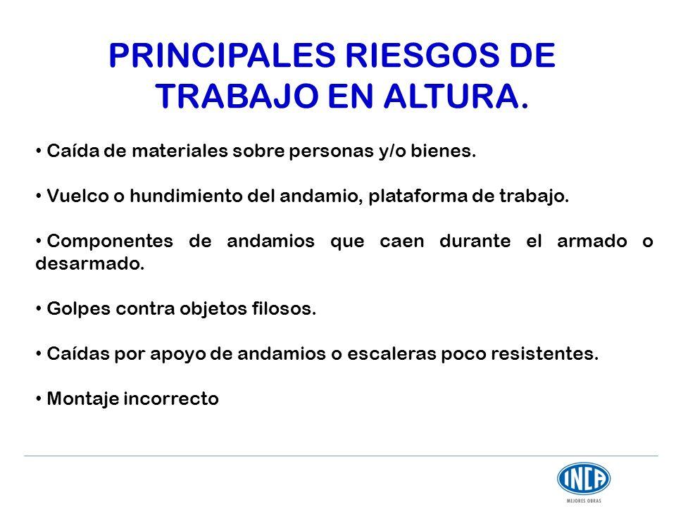 PRINCIPALES RIESGOS DE TRABAJO EN ALTURA.