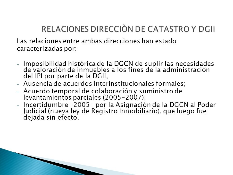 RELACIONES DIRECCIÒN DE CATASTRO Y DGII