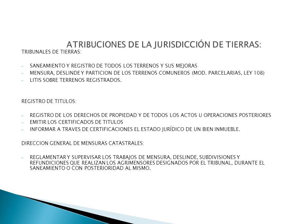 ATRIBUCIONES DE LA JURISDICCIÓN DE TIERRAS: