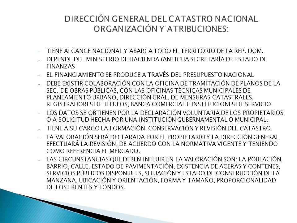 DIRECCIÓN GENERAL DEL CATASTRO NACIONAL ORGANIZACIÓN Y ATRIBUCIONES: