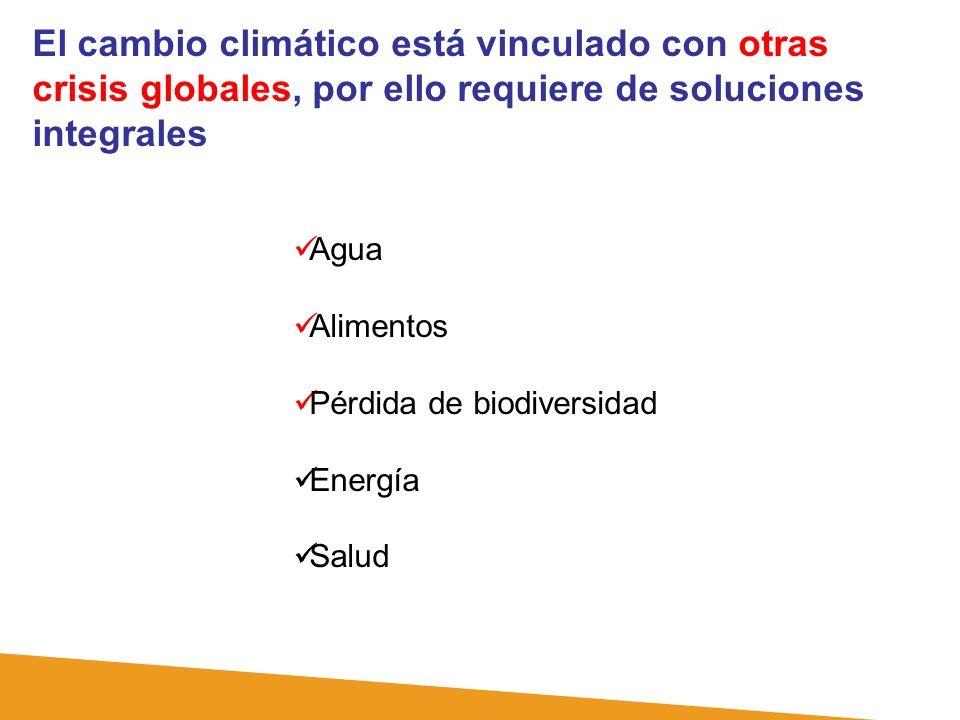 El cambio climático está vinculado con otras crisis globales, por ello requiere de soluciones integrales