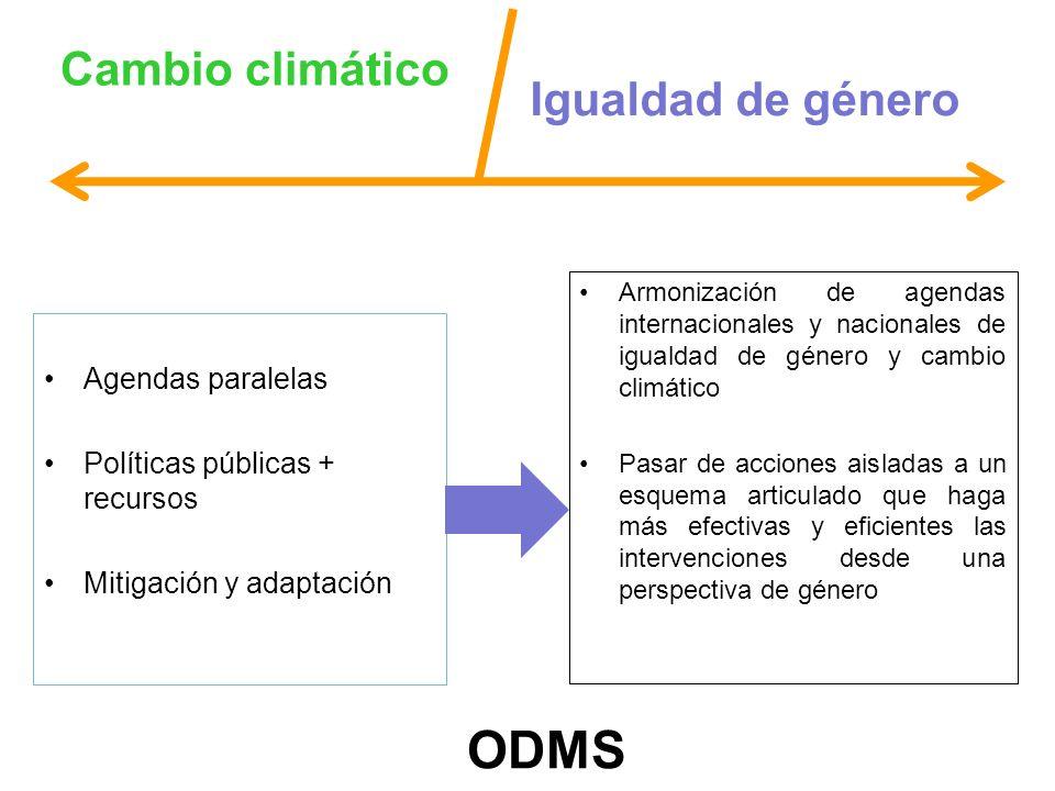 ODMS Cambio climático Igualdad de género Agendas paralelas