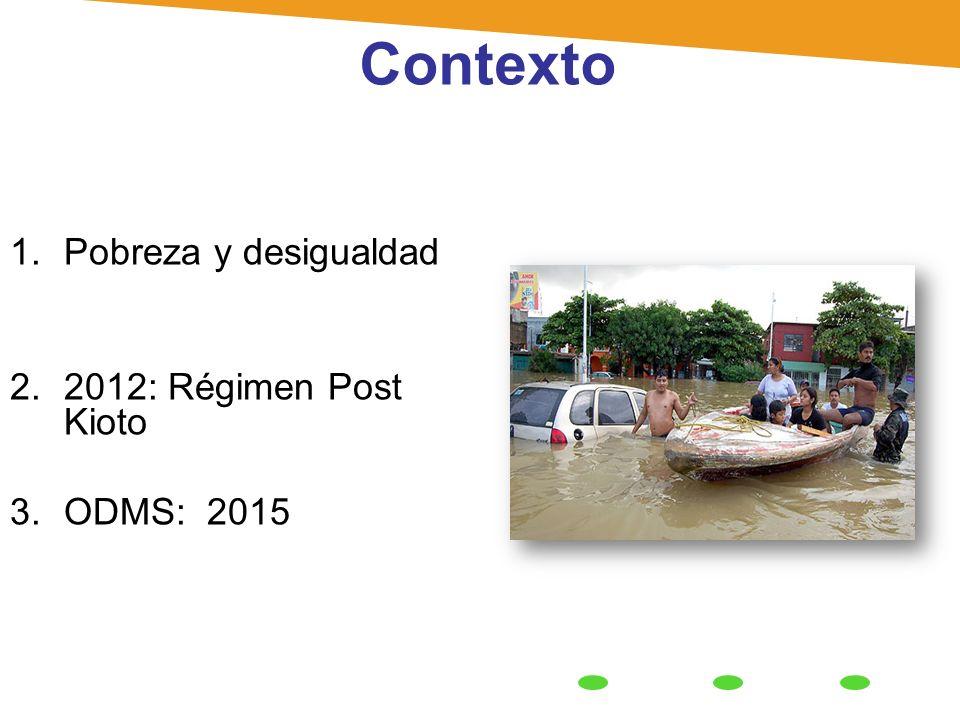 Contexto Pobreza y desigualdad 2012: Régimen Post Kioto ODMS: 2015