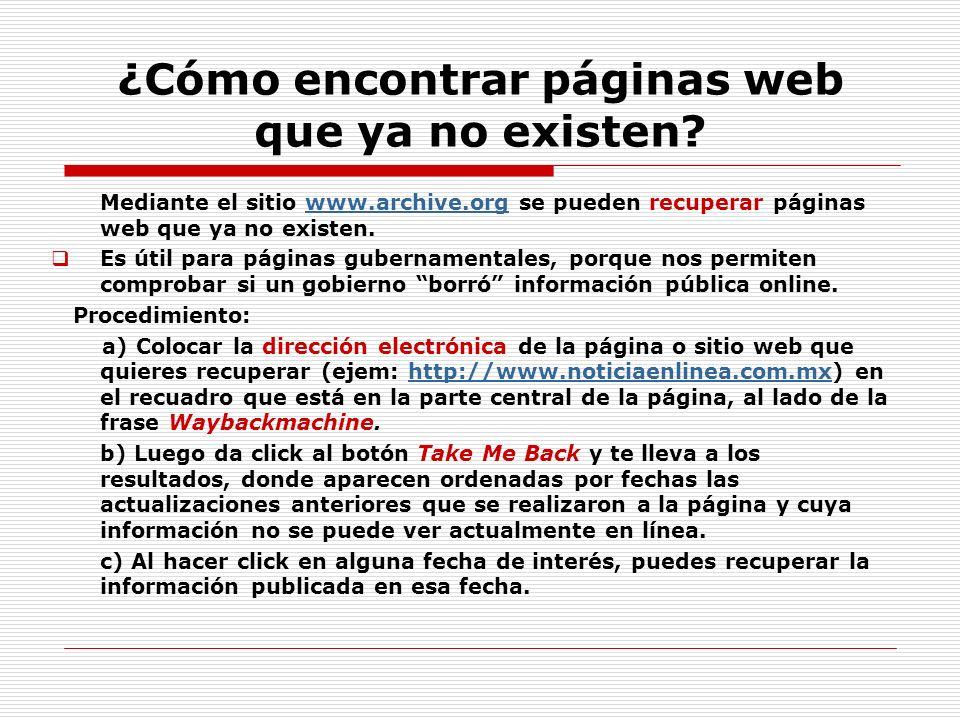 ¿Cómo encontrar páginas web que ya no existen