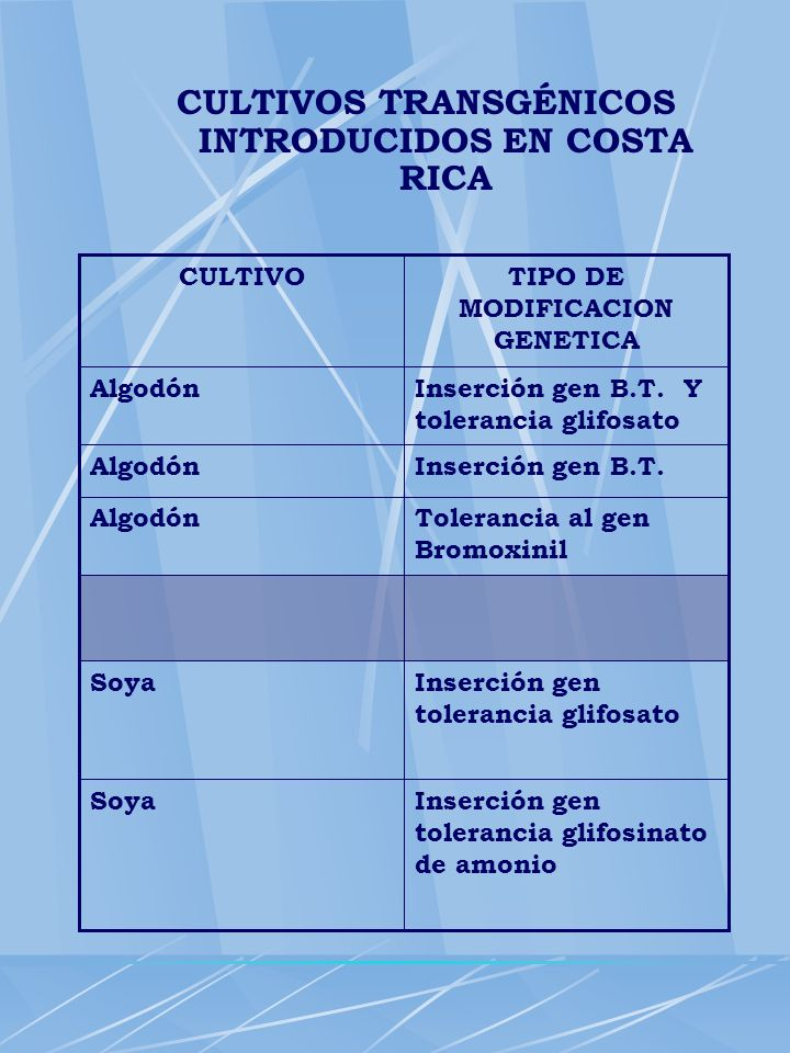 CULTIVOS TRANSGÉNICOS INTRODUCIDOS EN COSTA RICA