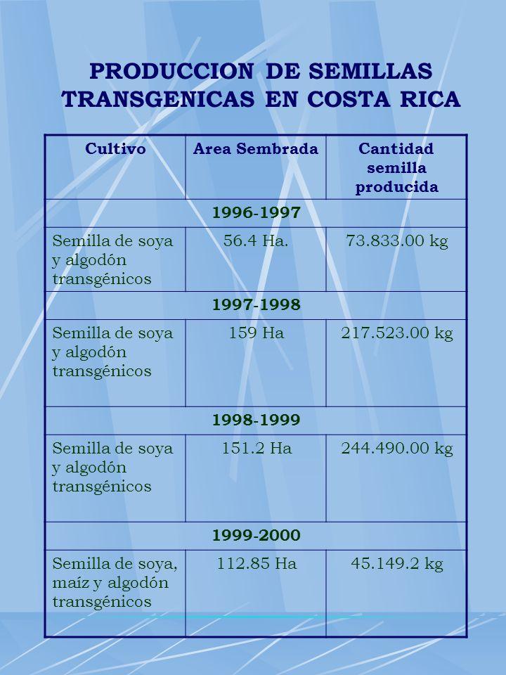 PRODUCCION DE SEMILLAS TRANSGENICAS EN COSTA RICA