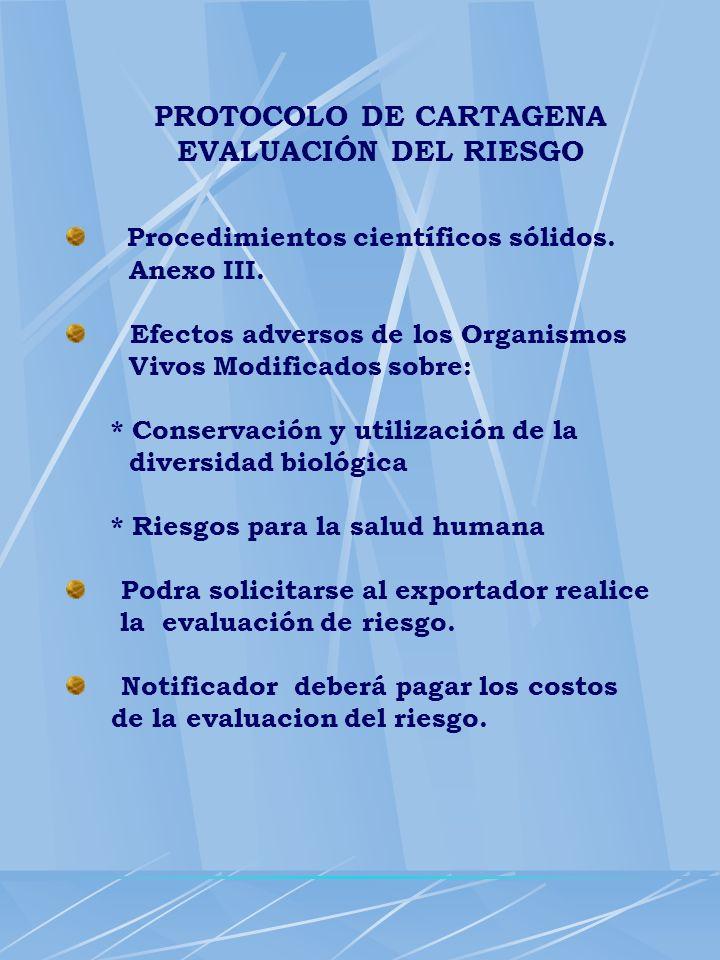 PROTOCOLO DE CARTAGENA EVALUACIÓN DEL RIESGO