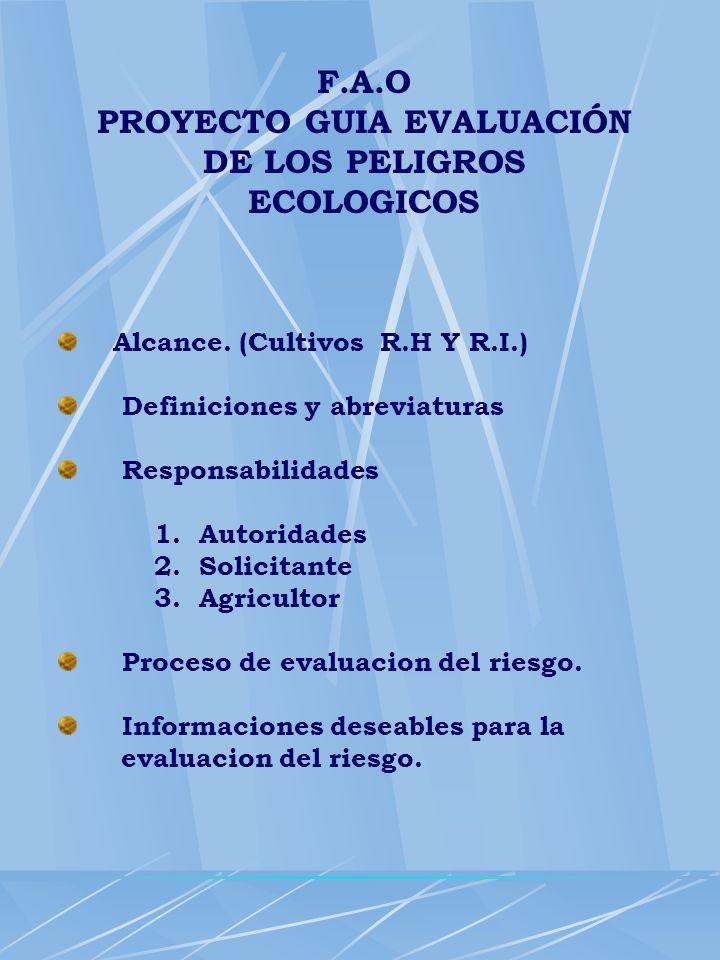 PROYECTO GUIA EVALUACIÓN DE LOS PELIGROS ECOLOGICOS