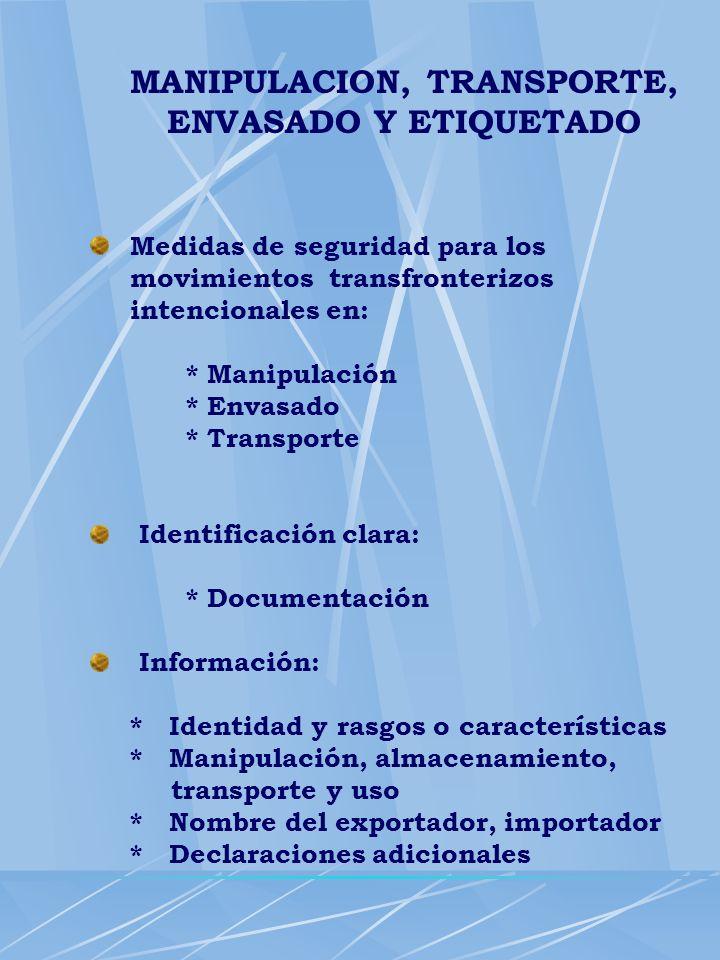 MANIPULACION, TRANSPORTE, ENVASADO Y ETIQUETADO