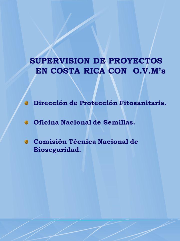 SUPERVISION DE PROYECTOS EN COSTA RICA CON O.V.M's