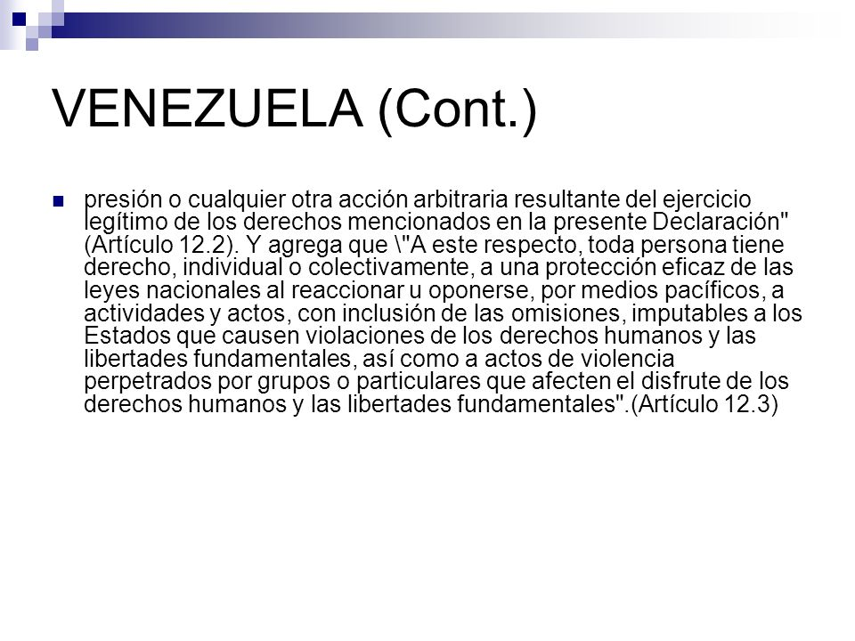 VENEZUELA (Cont.)
