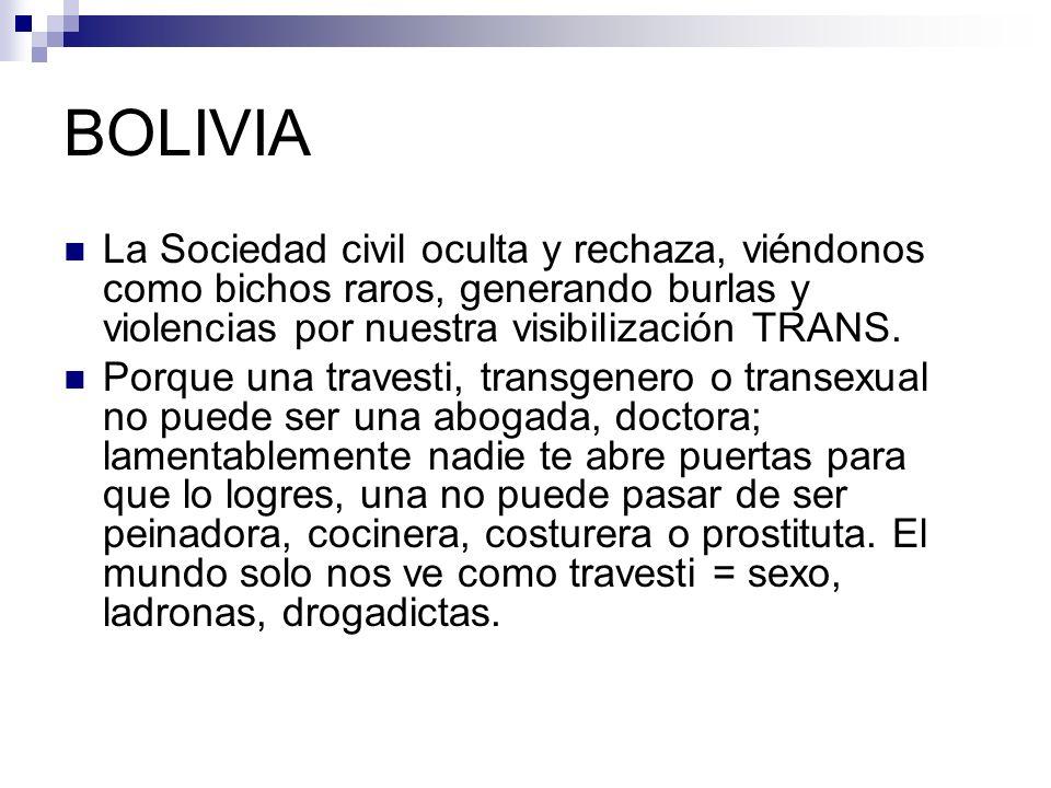 BOLIVIA La Sociedad civil oculta y rechaza, viéndonos como bichos raros, generando burlas y violencias por nuestra visibilización TRANS.