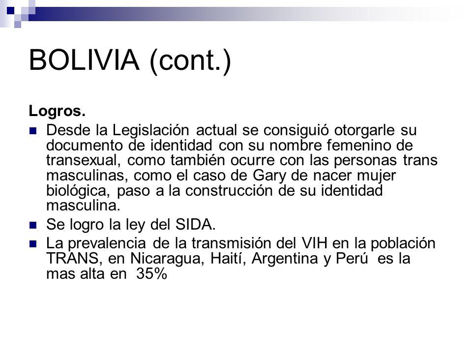 BOLIVIA (cont.) Logros.