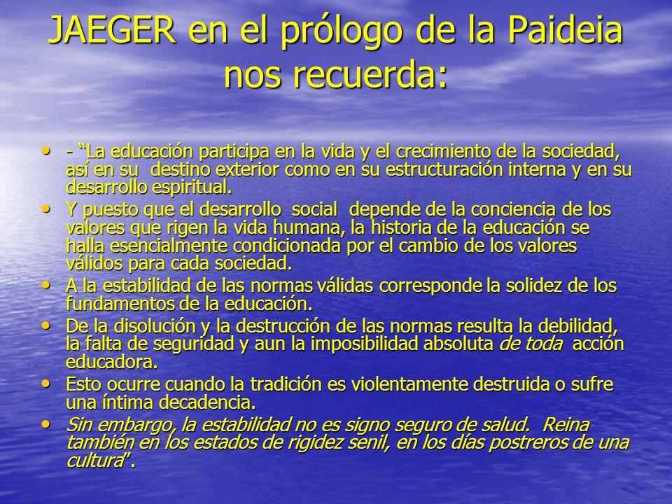 JAEGER en el prólogo de la Paideia nos recuerda: