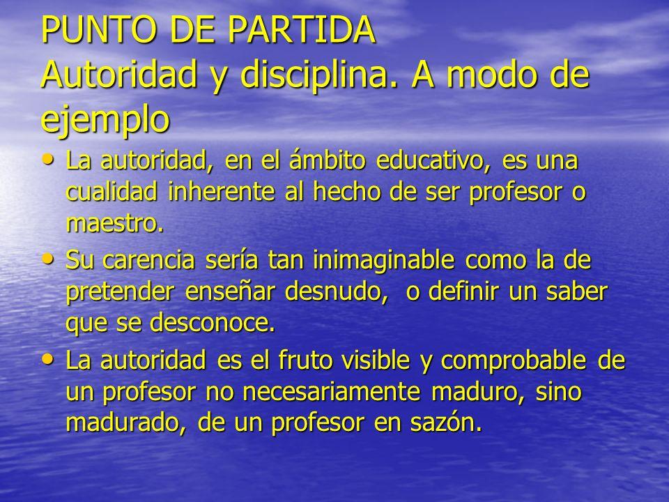 PUNTO DE PARTIDA Autoridad y disciplina. A modo de ejemplo