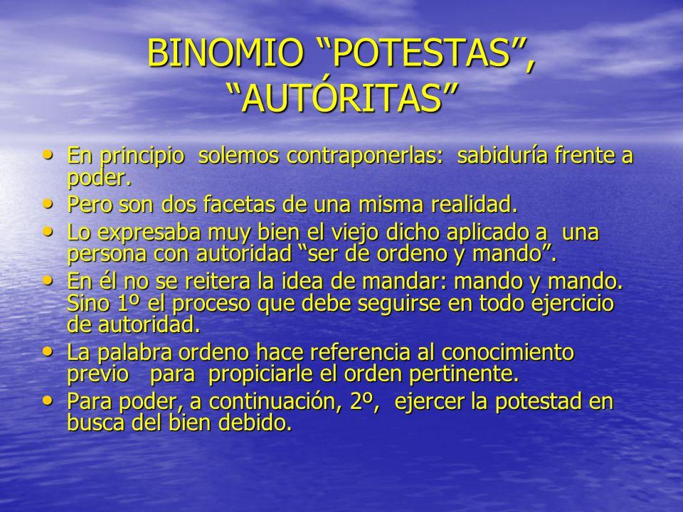 BINOMIO POTESTAS , AUTÓRITAS