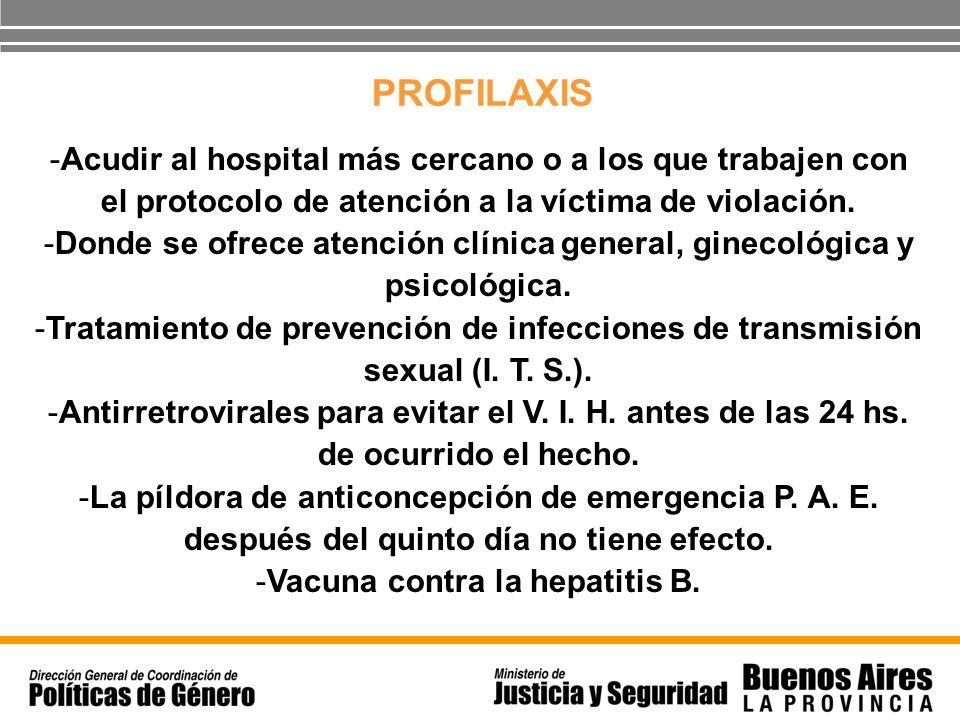 PROFILAXISAcudir al hospital más cercano o a los que trabajen con el protocolo de atención a la víctima de violación.