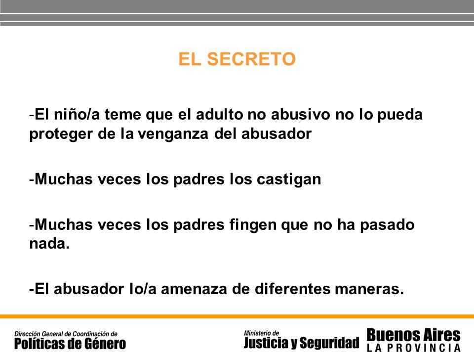 EL SECRETO El niño/a teme que el adulto no abusivo no lo pueda proteger de la venganza del abusador.