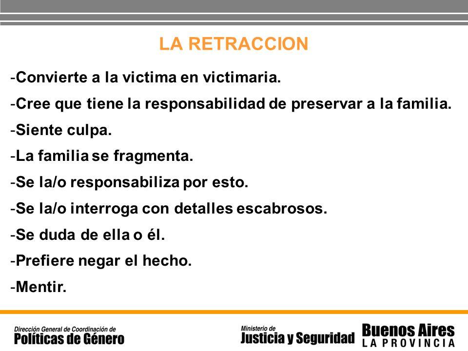 LA RETRACCION Convierte a la victima en victimaria.