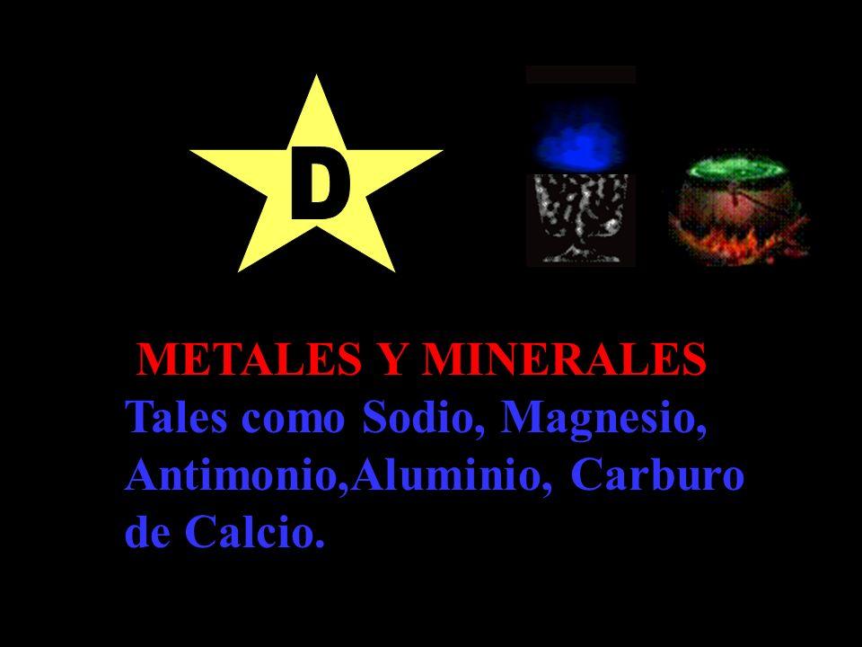 Tales como Sodio, Magnesio, Antimonio,Aluminio, Carburo de Calcio.