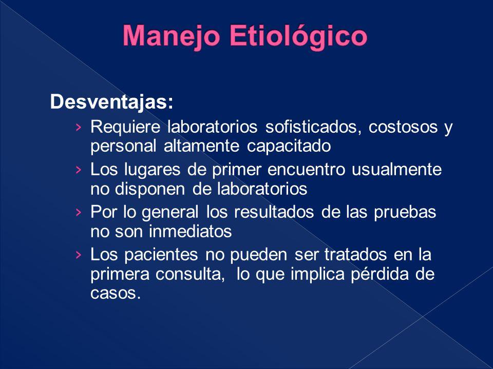 Manejo Etiológico Desventajas: