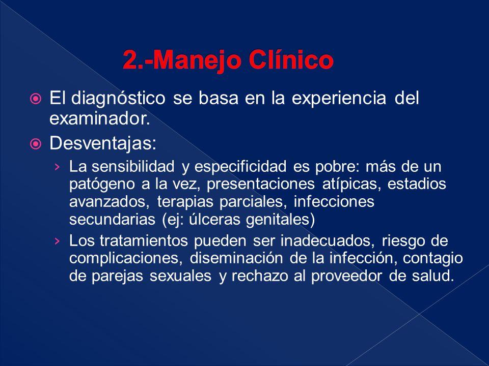 2.-Manejo Clínico El diagnóstico se basa en la experiencia del examinador. Desventajas: