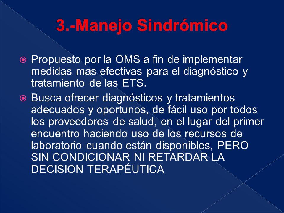 3.-Manejo Sindrómico Propuesto por la OMS a fin de implementar medidas mas efectivas para el diagnóstico y tratamiento de las ETS.