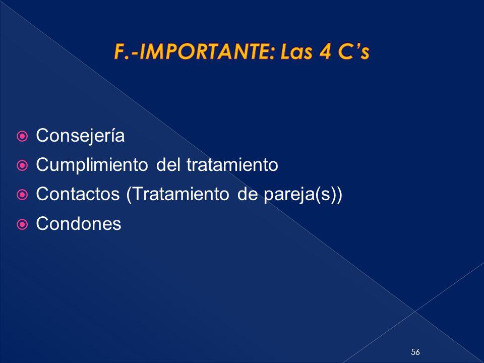 F.-IMPORTANTE: Las 4 C's Consejería Cumplimiento del tratamiento