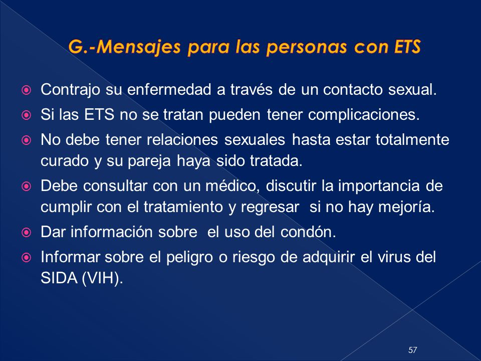 G.-Mensajes para las personas con ETS