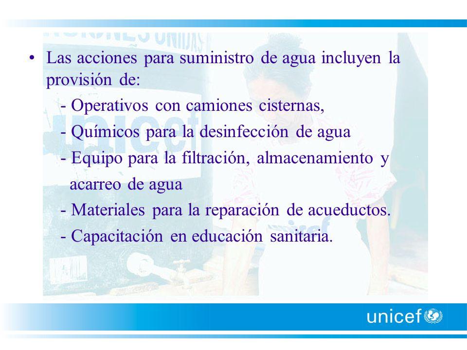 Las acciones para suministro de agua incluyen la provisión de: