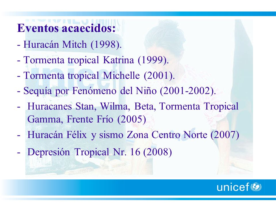 Eventos acaecidos: - Huracán Mitch (1998).