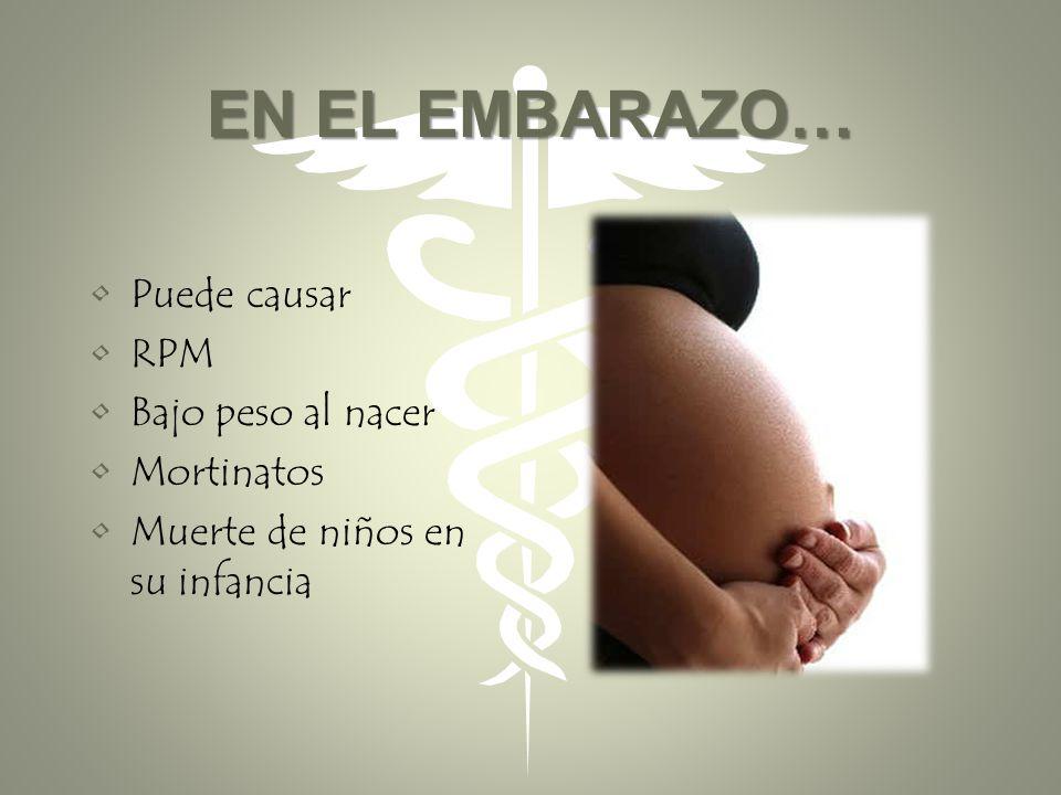 EN EL EMBARAZO… Puede causar RPM Bajo peso al nacer Mortinatos