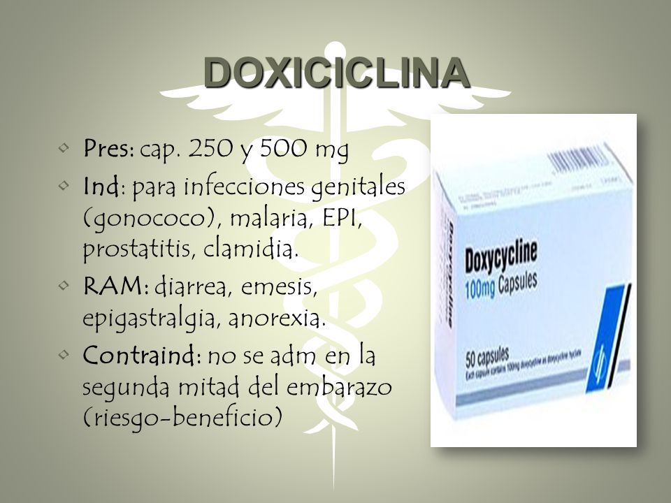 DOXICICLINA Pres: cap. 250 y 500 mg