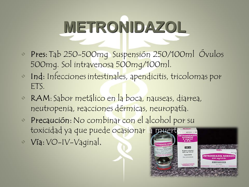 METRONIDAZOL Pres: Tab 250-500mg Suspensión 250/100ml Óvulos 500mg. Sol intravenosa 500mg/100ml.