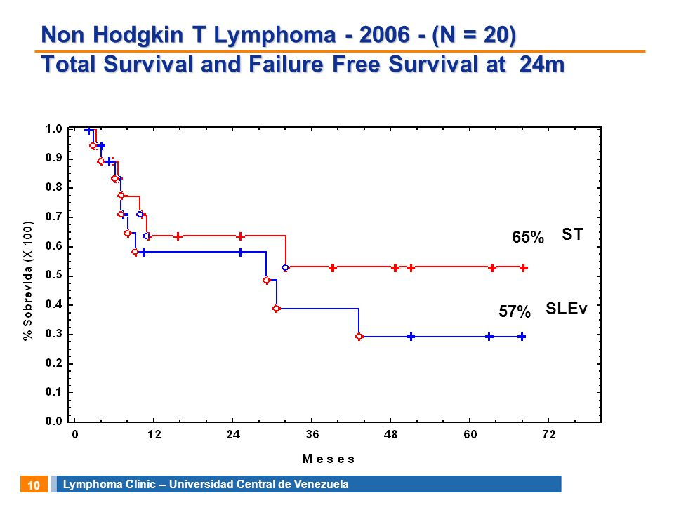 Non Hodgkin T Lymphoma (N = 20) Total Survival and Failure Free Survival at 24m