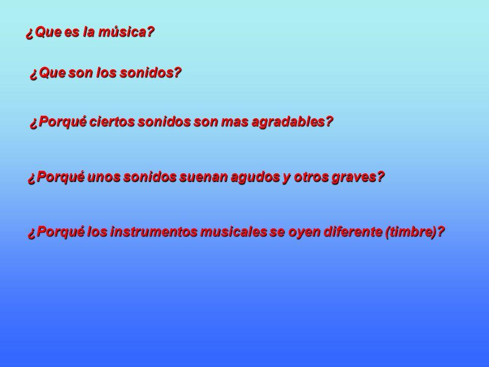 ¿Que es la música ¿Que son los sonidos ¿Porqué ciertos sonidos son mas agradables ¿Porqué unos sonidos suenan agudos y otros graves