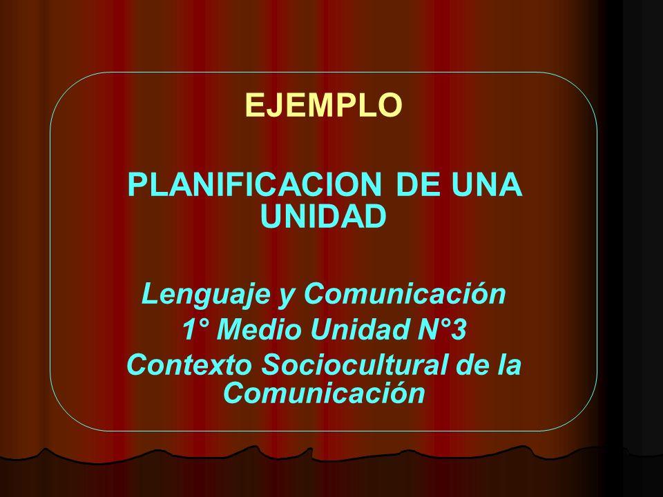EJEMPLO PLANIFICACION DE UNA UNIDAD