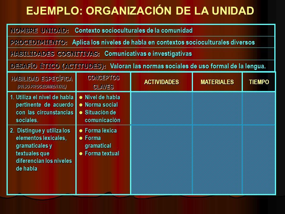 EJEMPLO: ORGANIZACIÓN DE LA UNIDAD