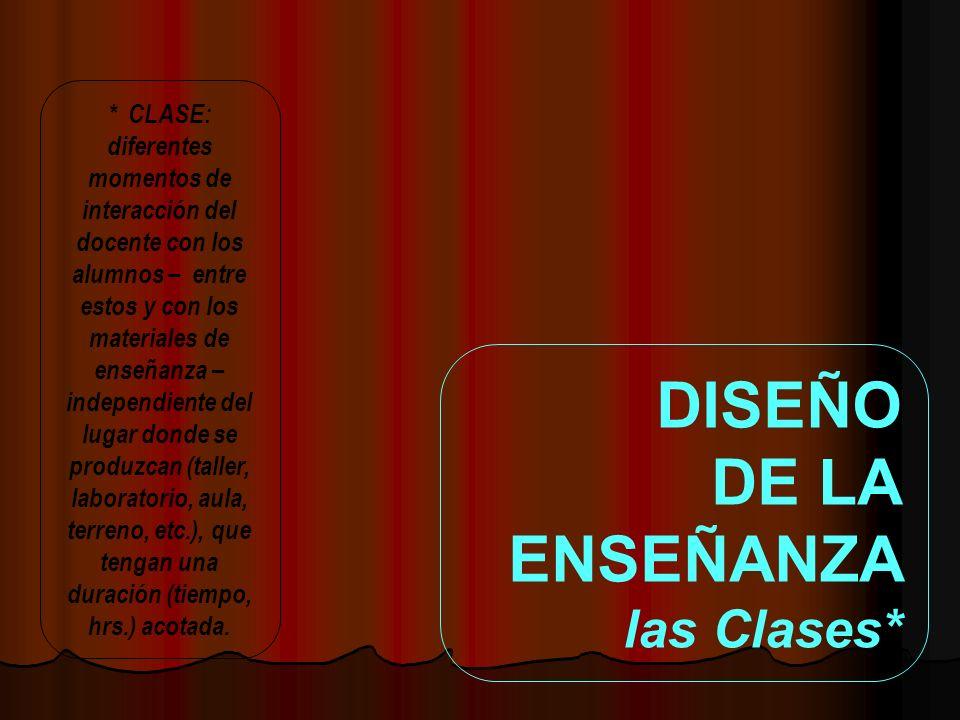 DISEÑO DE LA ENSEÑANZA las Clases*