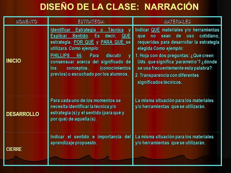 DISEÑO DE LA CLASE: NARRACIÓN