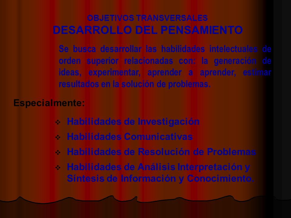 OBJETIVOS TRANSVERSALES DESARROLLO DEL PENSAMIENTO