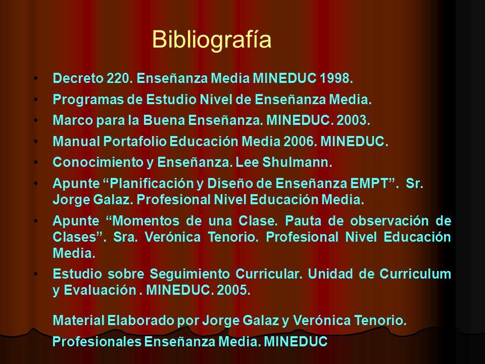 Bibliografía Decreto 220. Enseñanza Media MINEDUC 1998.