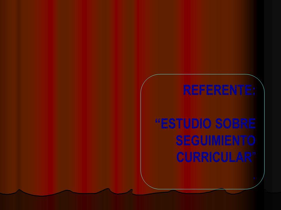 REFERENTE: ESTUDIO SOBRE SEGUIMIENTO CURRICULAR .