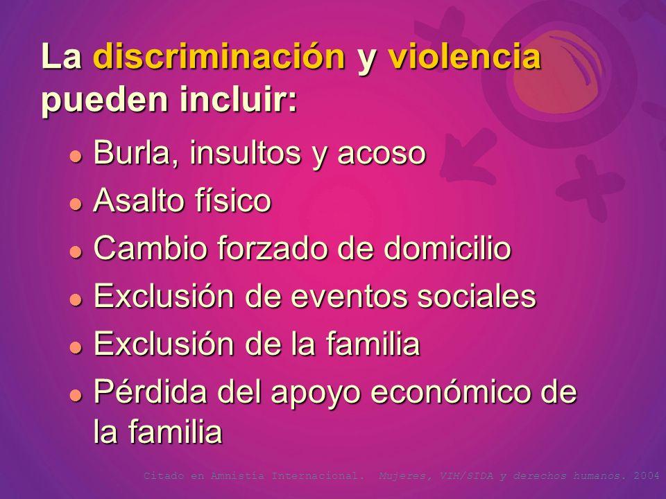 La discriminación y violencia pueden incluir: