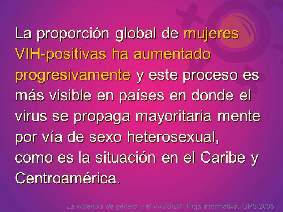 La proporción global de mujeres VIH-positivas ha aumentado progresivamente y este proceso es más visible en países en donde el virus se propaga mayoritaria mente por vía de sexo heterosexual, como es la situación en el Caribe y Centroamérica.